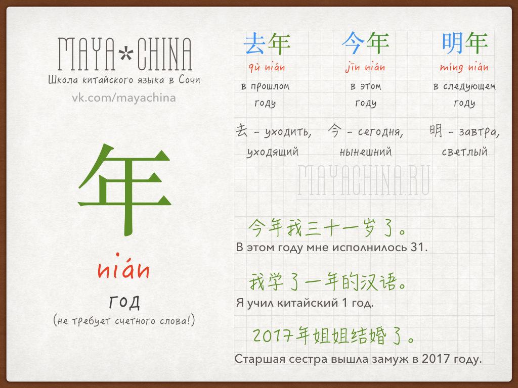 обстоятельство времени год на китайском языке